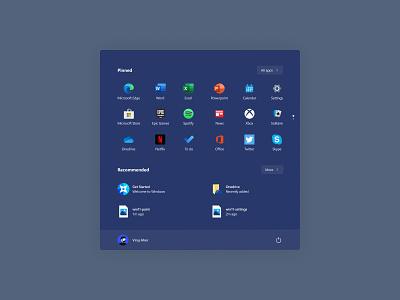 Start Menu - Windows 11 microsoft design google india mumbai windows 11 concept glass ui concept glassmorphism glass ui tiles ui tiles start menu windows 11 ui windows 11 flat design concept app ux ui minimal