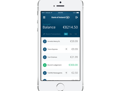 Bank of Ireland Mobile Banking App Concept data mastercard visa contactless interface ui banking finance icons ireland iphone numbers