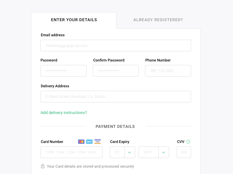Checkout Page (New user) case study registration order credit card buy email stripe payment desktop checkout