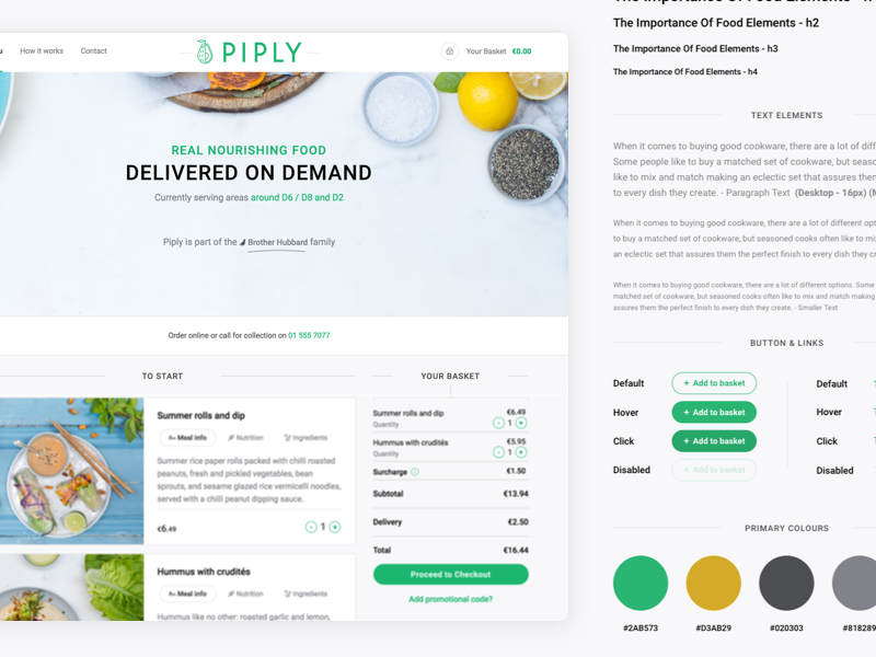 Designing for Piply: Case Study irish visual library component language food healthy design ui piply study case