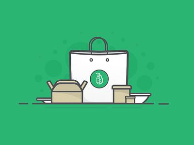Order Illustration healthy green bowl box takeout food illustration order