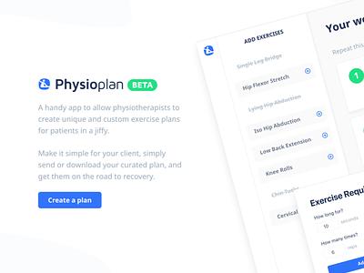 Physio Plan - Landing Page webapp page landing rehabilitation exercise plan physiotherapists physio