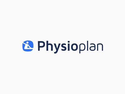 Physio Plan Logo grey white blue rehabilitation plan physiotherapists physio logo