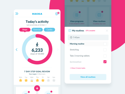 Innerstrength Health App redesign research exercise steps cardio fitness health android ios ui design ux design app design