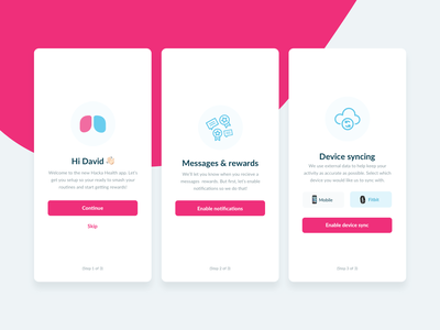 Innerstrength Health App - Onboarding ui design ux design ux fitbit syncing device personal cystic fibrosis health onboarding