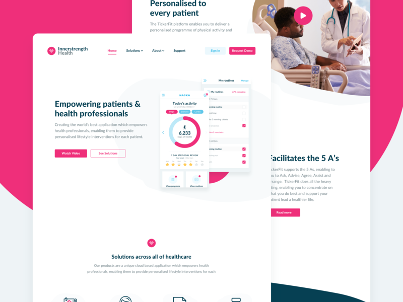 Innerstrength Health Website web design patient health app branding healthcare health marketing website