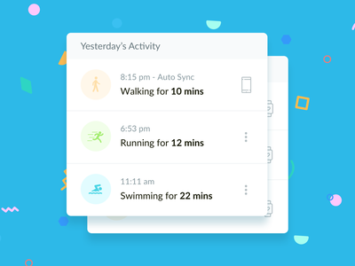 Activity Component healthcare app healthcare android ios activities tracking timeline device time exercise activity component ui