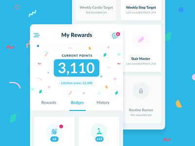 Rewards & Badges fun score gamification points stamps badges unlocks rewards ui health app android ios healthcare