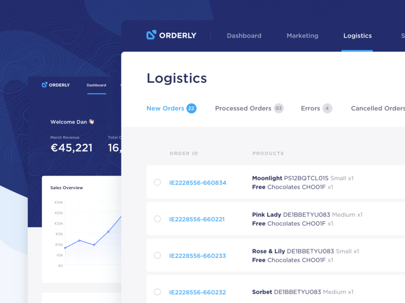 Orderly Logistics sales dashboard branding navigation cards order confirmation support admin charts revenue sales desktop application logistics orders