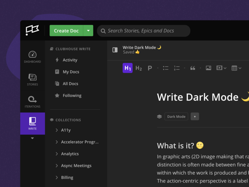 Write Dark Mode 🌙 formatting editor ui ux clubhouse wiki collaboration write documents dark mode