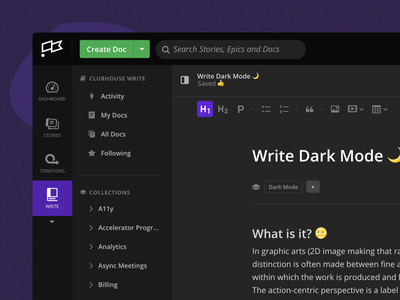 Write Dark Mode 🌙 formatting editor ui ux clubhouse wiki collaboration write documents dark mode