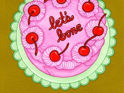Cherry Bomb valentine vintage valentine valentine cake vintage cake vintage recipe food art food illustration editorial illustration gouache traditional illustration painting illustration
