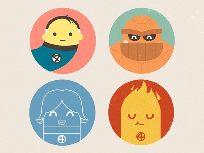 Fantastic Four illustration design flat icon badges marvel mister fantastic invisible woman human torch thing