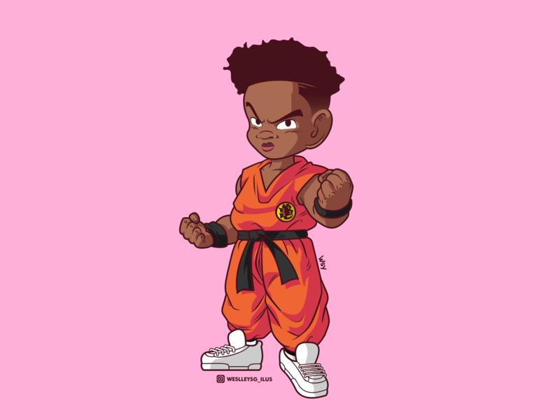 Goku Wakanda color vector illustration dribbble design character brazil