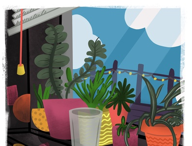 Places I Miss: View from Mac's Window pandemic dive stickers divebar window artwork color illustration design summer beer illustration art plants