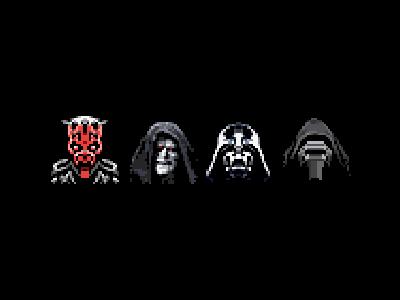 Star Wars baddies palpatine darth maul kylo ren darth vader star wars starwars pixelated pixel art retro 8-bit