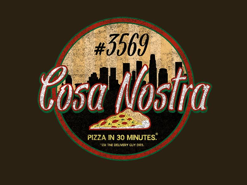 Snow Crash - Cosa Nostra Pizza shirt cyberpunk scifi weathered snow crash