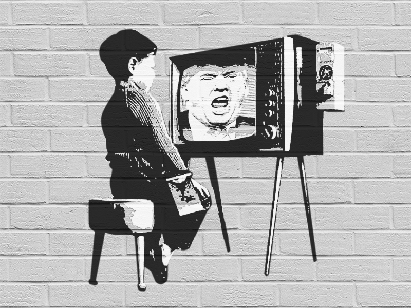 The brainwashed generation brainwashing tv stencil banksy political trump