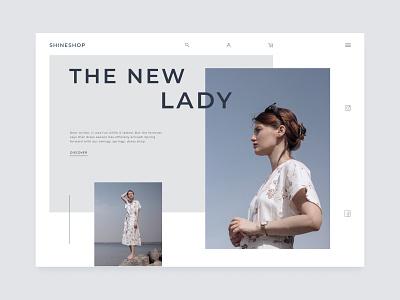Clothing store concept online store online shopping animation minimal ecommerce minimalistic banner hero clothes clothing lady store shop concept website web figma ux ui design