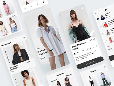 Clothing Store Mobile App fashion trendy ecommerce shopping app virtual shopping minimal application women online shop shopping store clothing figma design ux ui app design app mobile