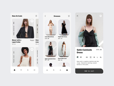 Clothing Store App - More Screens app design ecommerce ios motion graphics minimal clothing fashion online shopping shopping shop store transition gif app mobile animation figma ux ui design