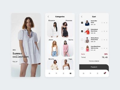 Clothing Store App - More Screens ios ecommerce minimal fashion women clothing store online shopping online shopping shop store app design app mobile figma ux ui design