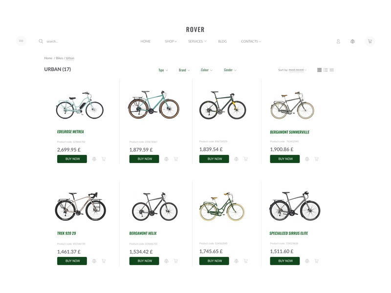 ROVER    Catalogue figma bike shop bike ecommerce online store online shop website catalogue ux ui design