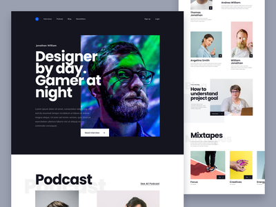 #Exploration - Bold Typography unique homepage desktop web landing page ux ui clean photography overlap layout card title headlines typography bold