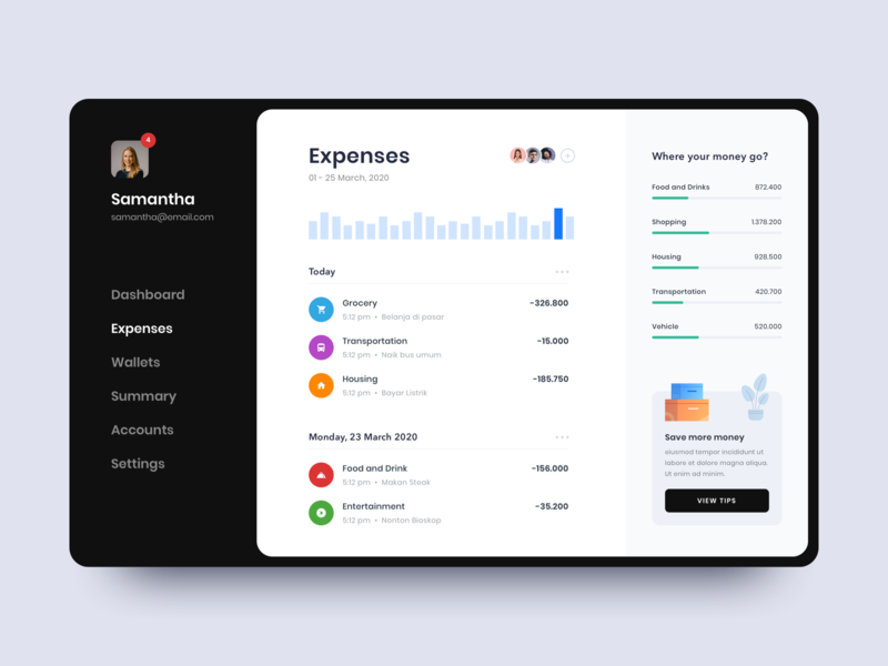 #Exploration - Personal Finance App icons pop up illustrations whitespace clean design ux ui sidebar menu table finance expenses charts stats dashboard app wallet money