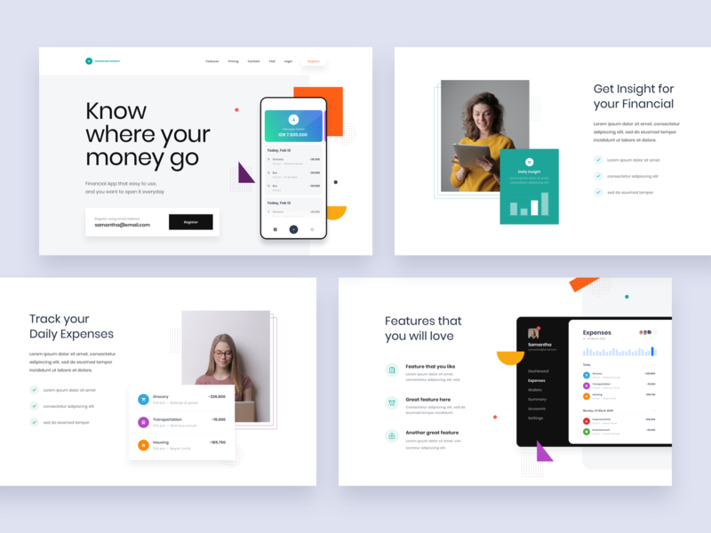 #Exploration - Personal Financial App Landing Page data photography ornament shape color bold typography whitespace clean ux ui website money finance dashboard app landing page homepage design web