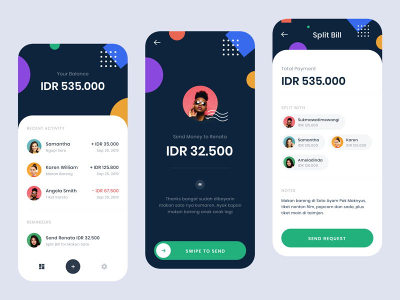 #Exploration - Split Bill App icons iphone android ios ux ui design product whitespace clean light dark color shape money split finance payment bill app