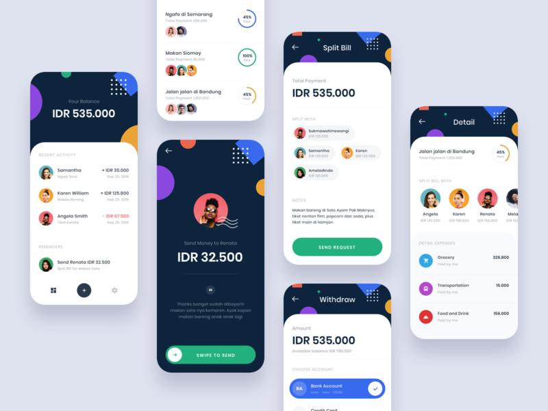 #Exploration - Split Bill App whitespace ux ui split shape product payment money light iphone ios icons finance design dark color clean bill app android