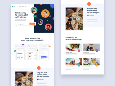 #Exploration - Landing Page for Split Bill App typography whitespace geometric shape ornament overlapping color clean android ios iphone app landing page homepage ux ui design web website