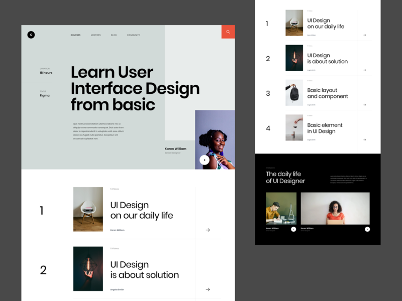#Exploration - Online Course card class education detail homepage whitespace clean layout photography typography desktop landing page web course online