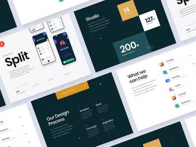 #Exploration - Landing Page Concept for Design Studio keynote deck slide card ornament mockup icons clean bold typography number project studio portfolio ux ui agency desktop website landing page