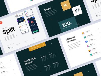 #Exploration - Landing Page Concept for Design Studio keynote deck slide card ornament mockup icons clean bold typography number project studio portfolio ux ui agency desktop website landing page