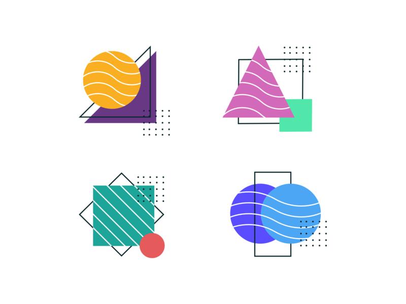 Icon Exploration wavey basic dots line shape geometric icons