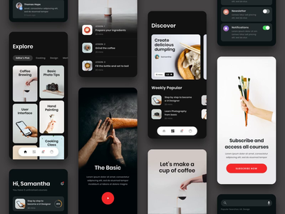#Exploration - Online Course App design education video gif bold whitespace photo card dark clean interaction prototype animation flow ux ui app android iphone ios