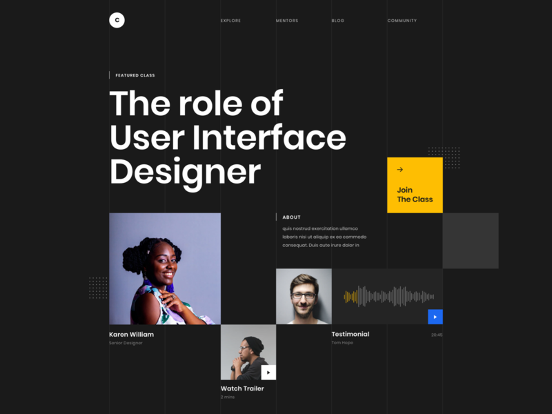 #Exploration - Hero Section desktop theme dark whitespace clean course online bold typography card grid homepage page landing website design web ui