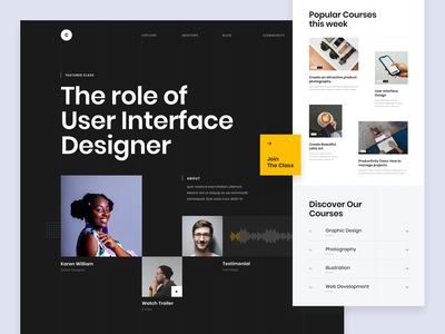 #Exploration - Online Course Landing Page design ui list thumbnail grid whitespace clean bold typography homepage website page landing