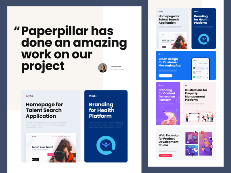 Our Works Page whitespace clean bold typography card profile company agency homepage landing page page work case study website portfolio