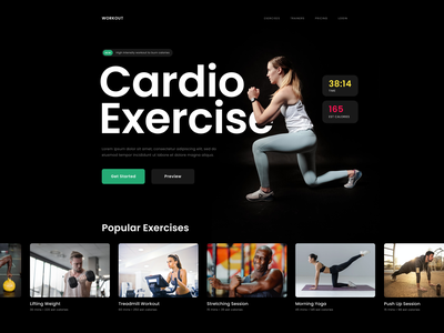 Workout Website - Hero Section photography ux bold typography whitespace clean design ui hero section homepage landing page health gym yoga training exercise fitness website workout