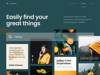 #Exploration - Features Section for bookmarking website typography photography whitespace clean bold section homepage landing page desktop ui website bookmark