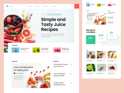 #Exploration - Fruit Juice Landing Page color pastel food photography typography bold ux ui design whitespace clean colorful fresh healthy juice fruit