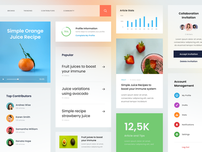 UI Elements for Fruit Juice Website card elements typography bold whitespace clean ux ui design website homepage landing page news blog recipes healthy juice fruit