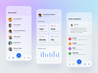 #Exploration - Mobile Version for Social Media Analytics android ios mobile whitespace website ux ui stats social media graphs glass effects design data dashboard clean analytics
