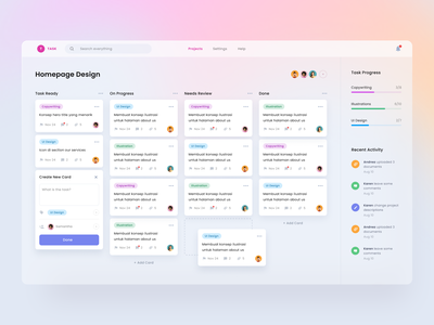 #Exploration - Task Management Dashboard ux colorful whitespace glass effects clean design ui website project dashboard management task