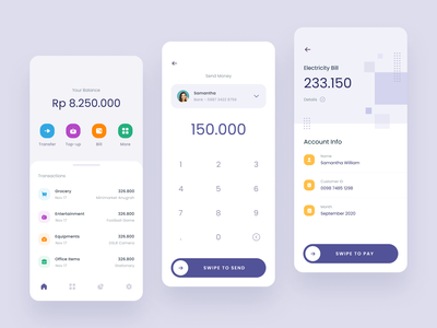 #Exploration - Digital Wallet App ux card android ios mobile bold whitespace clean design ui transfer bill payment transactions money finance app wallet digital