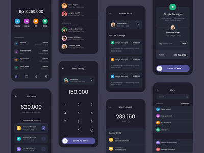 #Exploration - Digital Wallet App - Dark Mode ux design dashboard dark theme typography whitespace clean card money transactions fintech banking app wallet digital mode dark