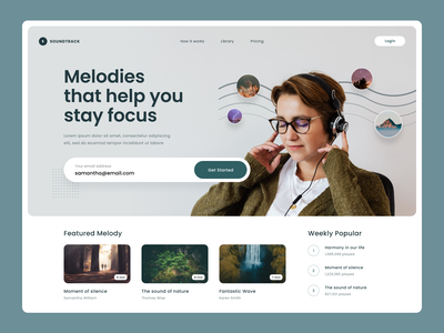 #Exploration - Hero Section whitespace clean ux ui card typography bold photography work focus meditation relaxing sound design soundtrack melody website music